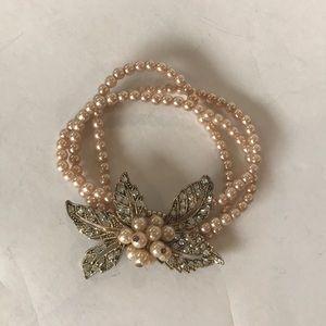 Beaded Triple Bracelet Bling flower flapper style